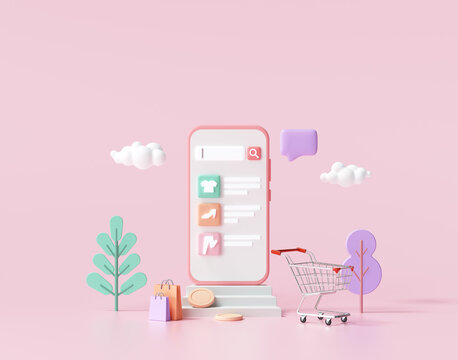 Shopping online application on smartphone, online mobile shopping and delivery for web page template. 3d render illustration