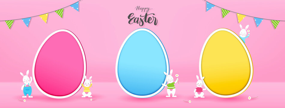 Bunnies with empty colorful eggs for adding your texts or pictures in pink banner background with Happy Easter text