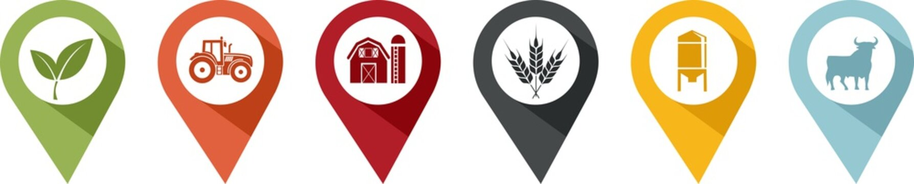 pin of various symbols of agriculture