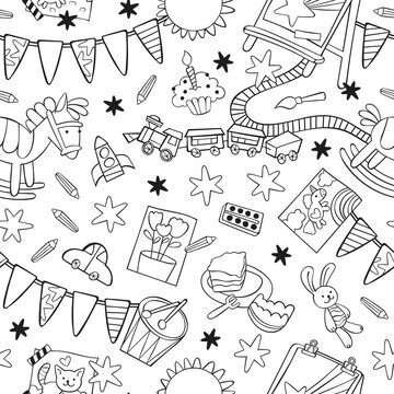 Toys: rocking horse, toy railroad, toy car, train, drum, stuffed animals, bunny toy. Easel, paints and brushes, children's drawings. Garland flag. Cartoon print. Seamless vector pattern (background).