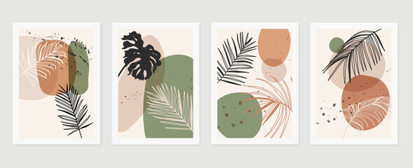 Abstract art nature background vector. Modern shape line art wallpaper. Boho foliage botanical leaves watercolor texture design for home deco, wall art, social media post and story background. - fototapety na wymiar