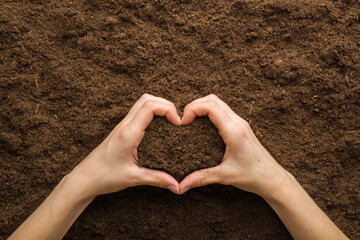 Fototapeta Heart shape created from young adult woman hands on dark brown dry soil background. Care about environment or agriculture. Closeup. Point of view shot. Top down view. obraz