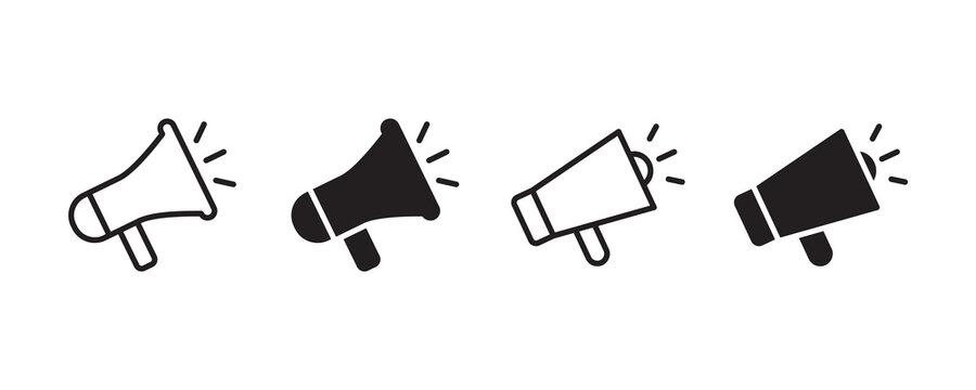 Megaphone icon set. Vector graphic illustration. Suitable for website design, logo, app, template, and ui.