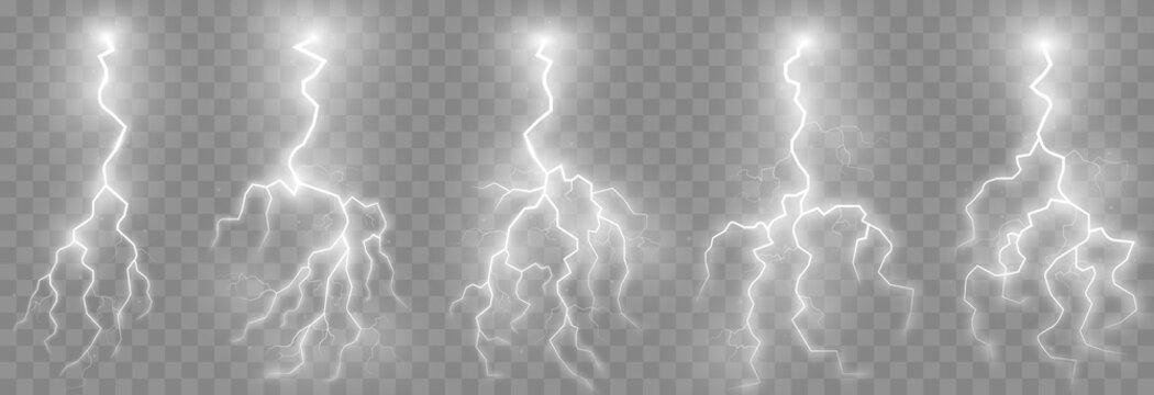 Vector lightning, lightning png set, thunderstorm, lighting. Natural phenomenon, light effect. PNG.