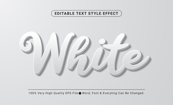 3d White Embossed Vector text style effect, Editable Text Effect