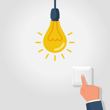 To turn on the light. The man presses the switch button with his finger. Electricity saving template. The switch is insulated on the wall. Vector illustration flat design.