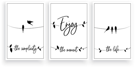 Enjoy the life, simplicity, the moment, vector. Wording design. Motivational, inspirational, life quotes. Scandinavian minimalist three pieces poster design. Wall art decor, wall decals