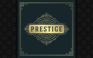 Fototapeta Vintage logo elegant flourishes line art graceful ornaments victorian style vector template design