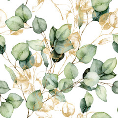 Fototapeta Watercolor seamless pattern of gold eucalyptus branches, seeds and leaves. Hand painted tropical plants isolated on white background. Floral illustration for design, print, fabric or background. obraz