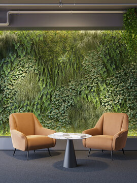 3d render of a Vertical green wall in modern office area with two orange lounge chairs