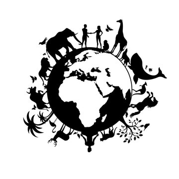 Planet Earth with people and animals black silhouette vector. Wild animals silhouette. Earth with fauna and flora icon vector. Animals and people together on planet earth vector. Environmental concept