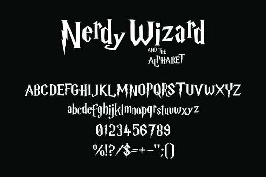 Lightning alphabet with sharp edges for nerdy wizard titles. Vector typography illustration