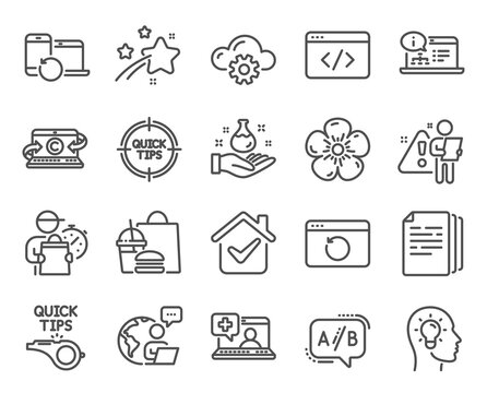 Science icons set. Included icon as Ab testing, Recovery internet, Medical help signs. Copy documents, Tips, Tutorials symbols. Copywriting notebook, Natural linen, Chemistry lab. Vector