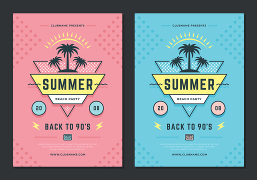 Summer beach party flyer or poster template 90s typography style