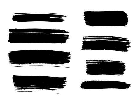 Painted grunge stripes set. Black labels, background, paint texture. Brush strokes vector.