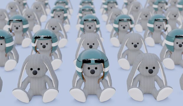 Herd immunity. Funny 3d concept with stuffed toy rabbits sitting on a blue floor, some with motorcycle helmets.