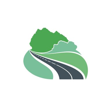 Road icon forest and highway path way, vector travel and journey trip symbol. Road curve to forest, asphalt with transport traffic lane, green eco construction and road building industry