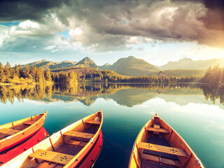 Calm lake in National Park High Tatra. Location place Strbske pleso, Slovakia, Europe.