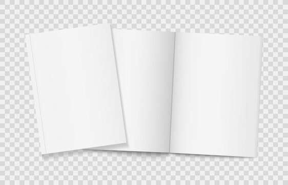 Two realistic blank books on transparent background. Open and closed vertical brochure page, notebook, magazine, booklet, cover. 3d mockup template for your design. Blank paper white sheets. Vector