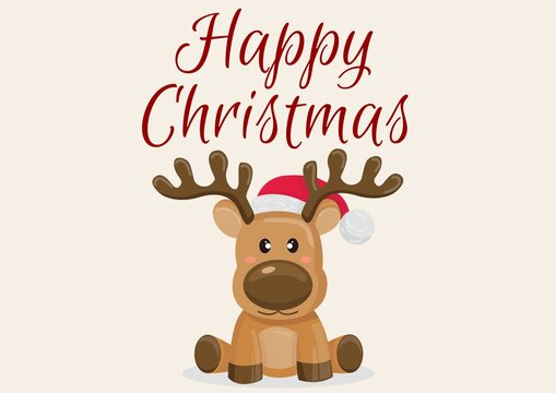 Happy christmas text with baby reindeer on light pink background
