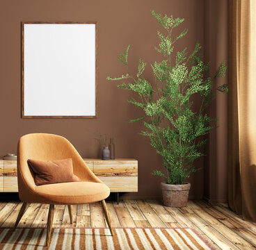 Interior of modern living room with poster and orange armchair 3d rendering