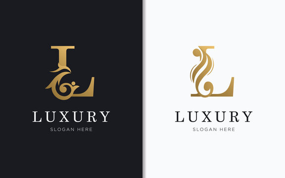 Luxury letter L with gold color logo template
