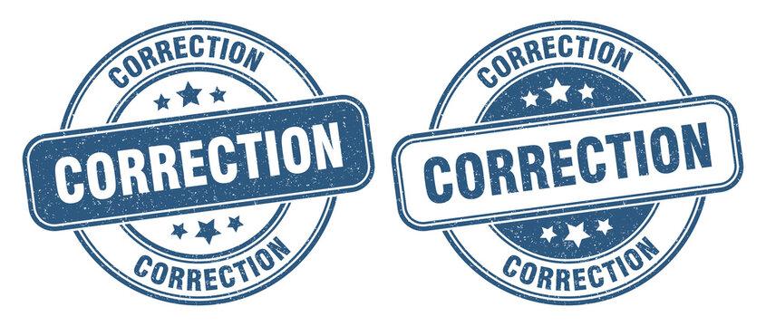 correction stamp. correction label. round grunge sign