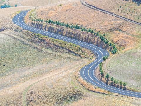 USA, Idaho, Lewiston, the old Spiral Highway coming into Lewiston