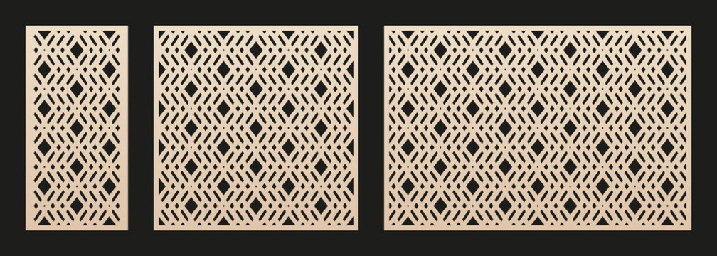 Decorative panels for laser cutting. Cutout silhouette with abstract geometric pattern, diamond grid, lattice, mesh. Laser cut stencil for wood, metal, paper, plastic. Aspect ratio 1:2, 1:1, 3:2
