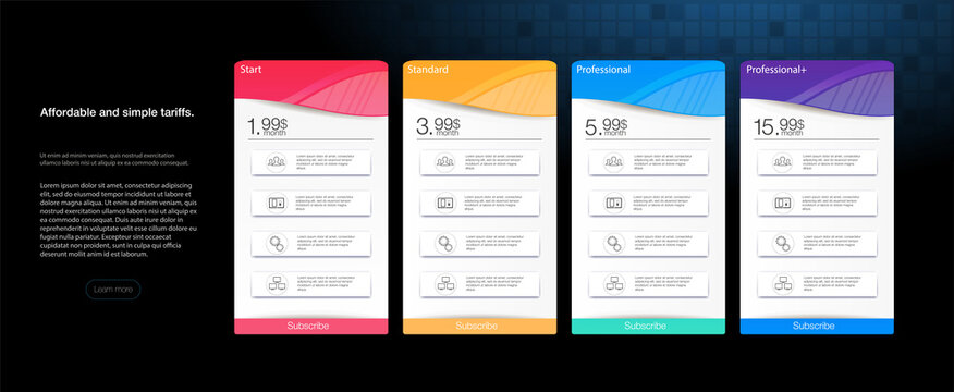 Pricing Table Template with Plans Type. Pricing table, banner.  Vector illustration of pricing subscription plan table template with blue vector illustrations.