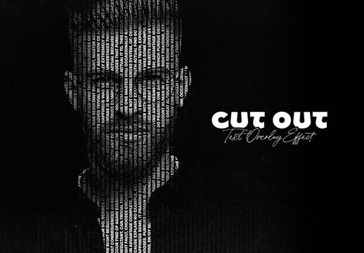 Cut Out Text Overlay Photo Effect Mockup