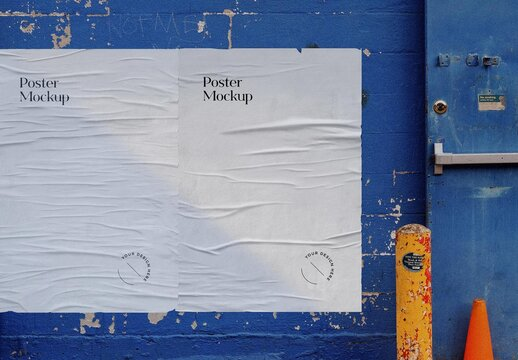 Worn Outdoor Posters Mockup