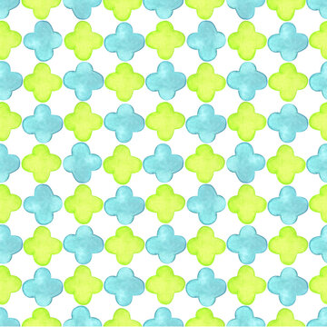 Abstract quatrefoil pattern in oriental style. Seamless raster background with quatrefoil lattice shapes in two colors: green and turquoise.