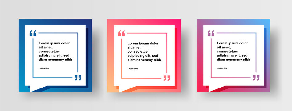 Set of Social Media Post Design Template for Quotes. Modern Quote Social Post or Square Banner with Bright Abstract Gradient Background.