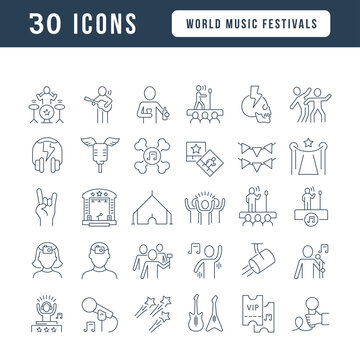 Set of linear icons of World Music Festivals