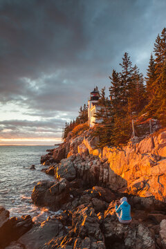 USA, Maine, Mt. Desert Island. Acadia National Park, Bass Harbor Head Lighthouse at dusk.