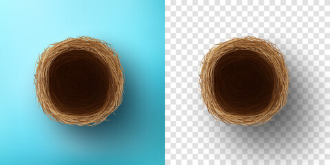 Top view of Empty Bird nest on blue and transparent background.Vector and template of Nest for Easter Day in flat lay styling.Vector illustration eps 10