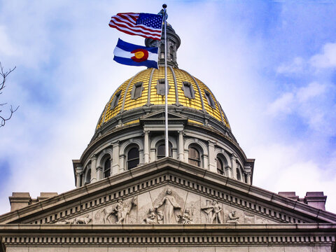 Denver, Colorado USA:Gold plated roof top of the Capitol Building of Denver Colorado