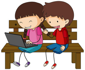 A doodle kids using laptop cartoon character isolated