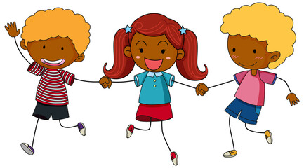 Three kids holding hands cartoon character hand drawn doodle style isolated