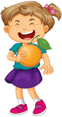 A girl holding an orange fruit cartoon character isolated on white background