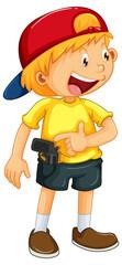 A happy boy with gun toy on white background