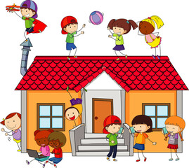 Many kids doing different activities around the house