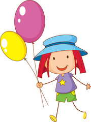 Doodle hand drawn with a girl cartoon character holding balloon