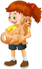 A girl holding cute dog cartoon character isolated on white background