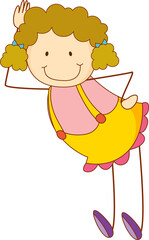 Cute girl cartoon character in doodle style isolated