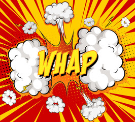 WHAP text on comic cloud explosion on rays background
