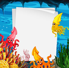 Blank paper template with many squids cartoon character in the underwater scene