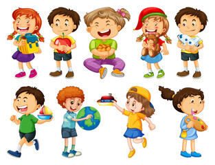Set of different kid cartoon character isolated on white background