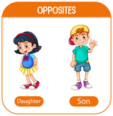 Opposite words with daughter and son